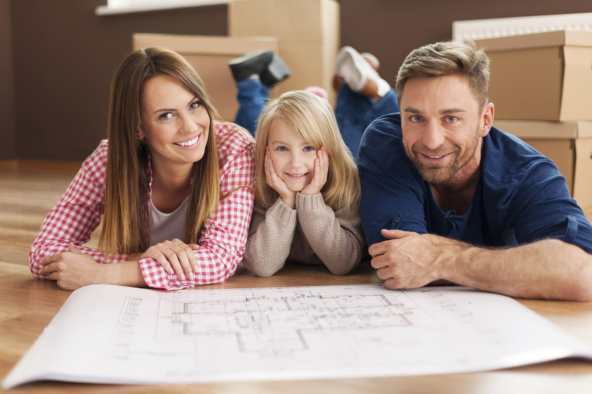Happy family planning their new apartment